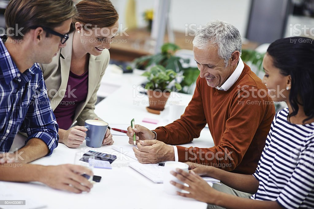 Always time for a some fun in the morning meeting stock photo