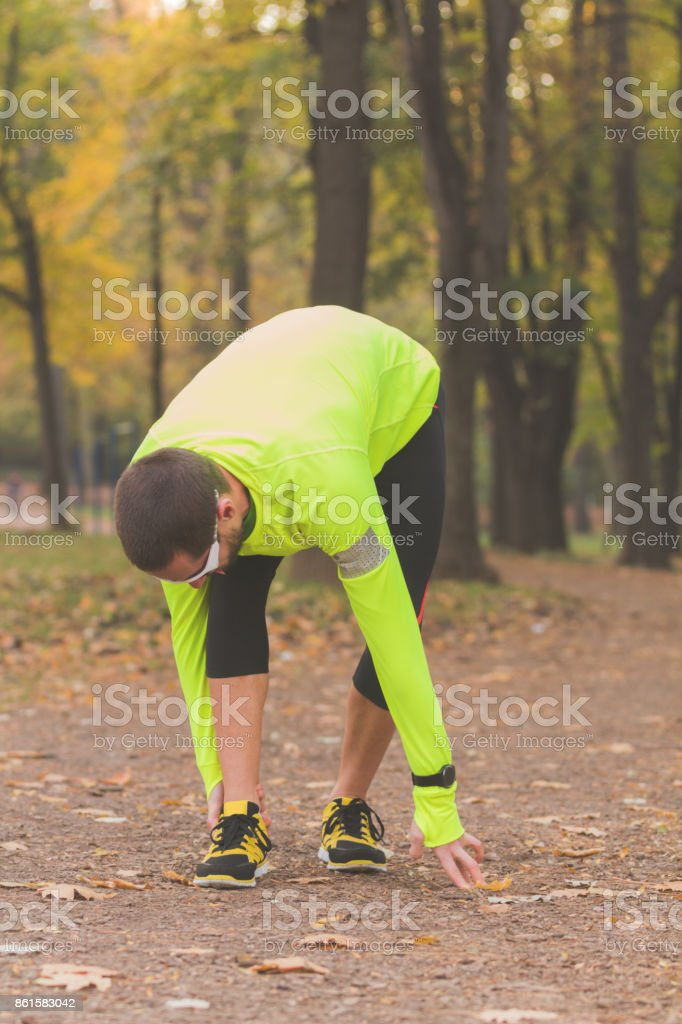 Always warm-up before jogging or injury occurs. stock photo