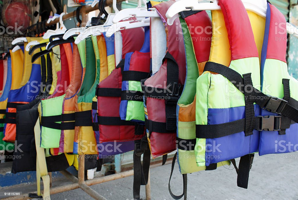 always wear lifejackets stock photo