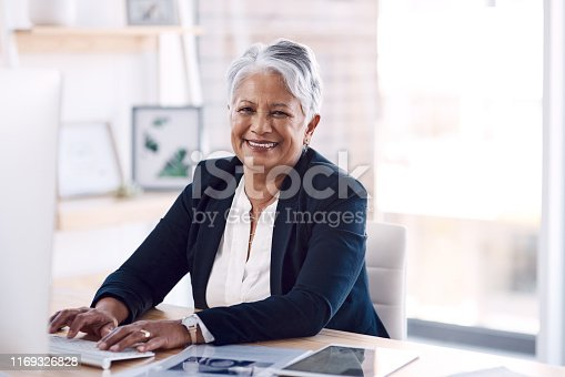 Portrait of a mature businesswoman working on a computer in an office