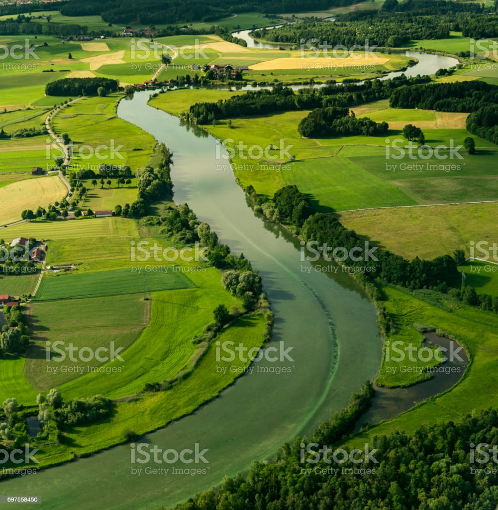 alz river at seeon-seebruck stock photo