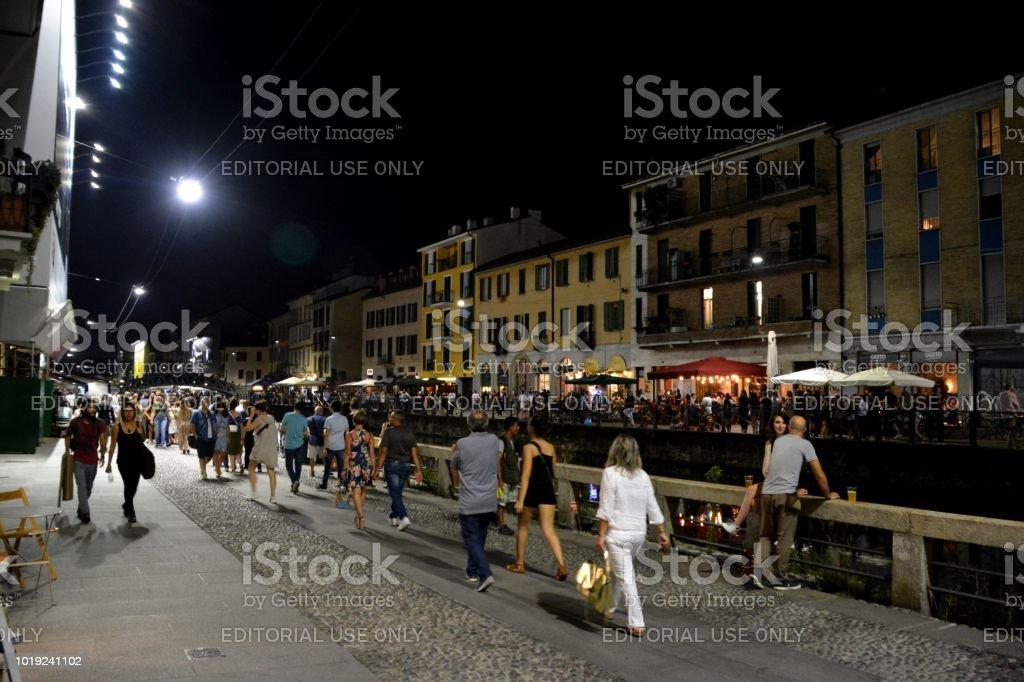 Alzaia Naviglio Grande by night, Milan stock photo