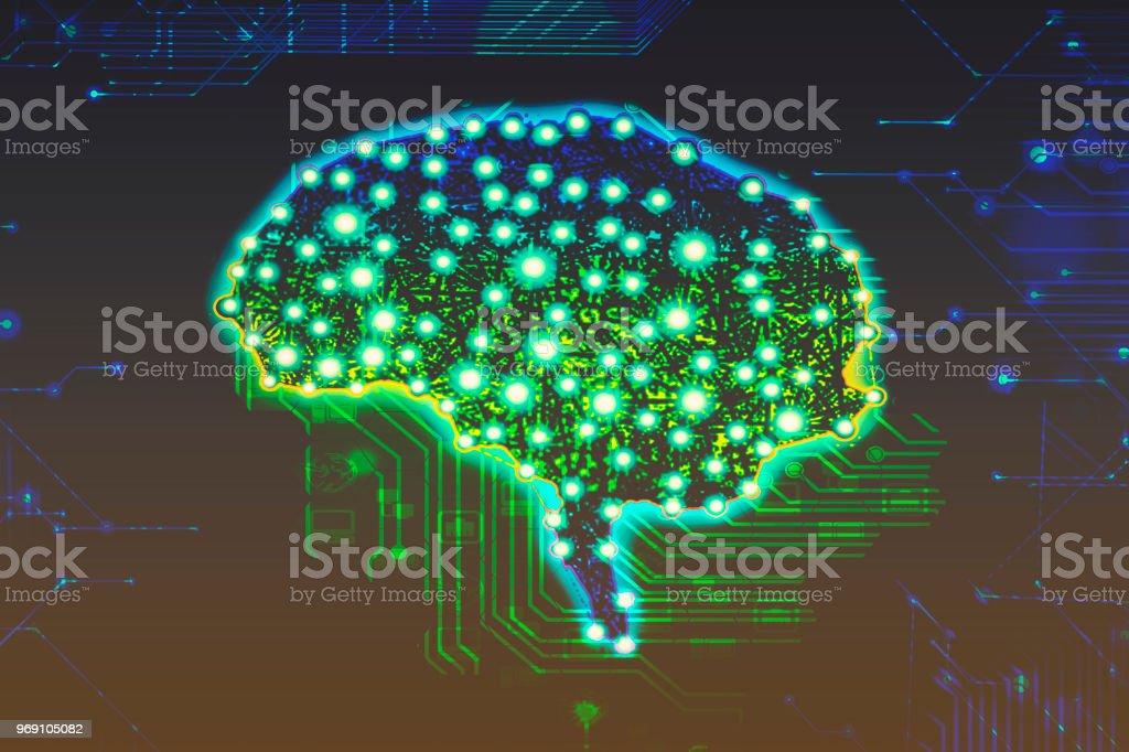 Alzheimer brain disease concept brain and electronic circuit board consciousness uploading bioinformatics of the brain neurons neuronal neural network concept dementia healing stock photo
