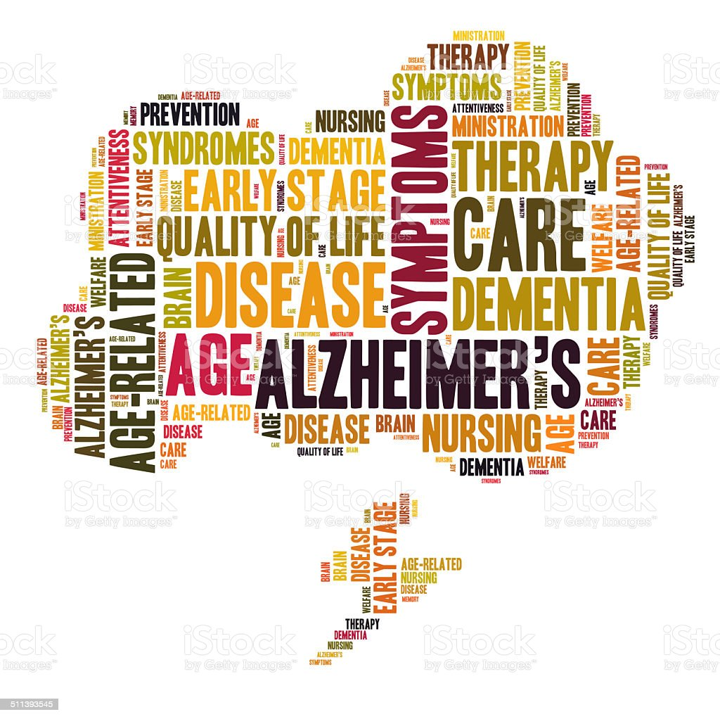 Alzheimer word cloud stock photo
