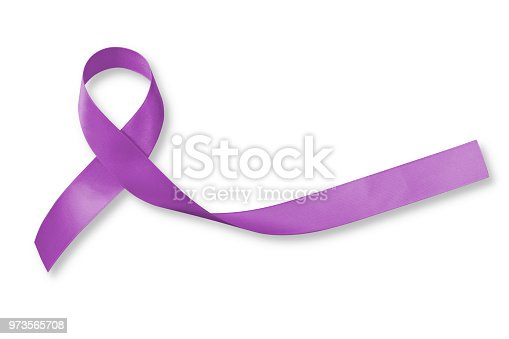 istock Alzheimer's Disease (AD) Awareness with purple ribbon (clipping path) on helping hand support for World Alzheimers day (month) concept 973565708