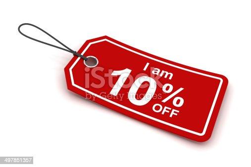 I am 10% off sale tag, 3d render