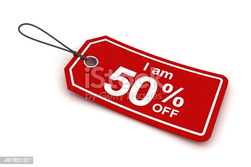 I am 50% off sale tag, 3d render