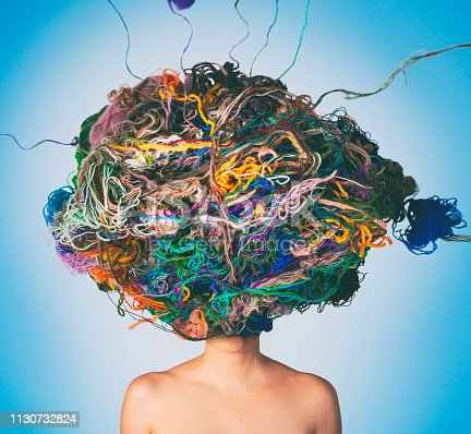 Conceptual photo compilation of woman with tangled threads and wool on head. Tangled situation concept.