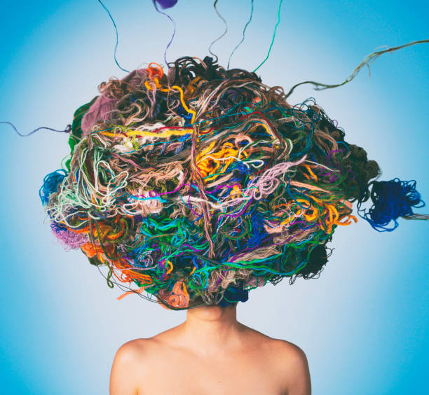 I am a mess Conceptual photo compilation of woman with tangled threads and wool on head. Tangled situation concept. imperfection stock pictures, royalty-free photos & images