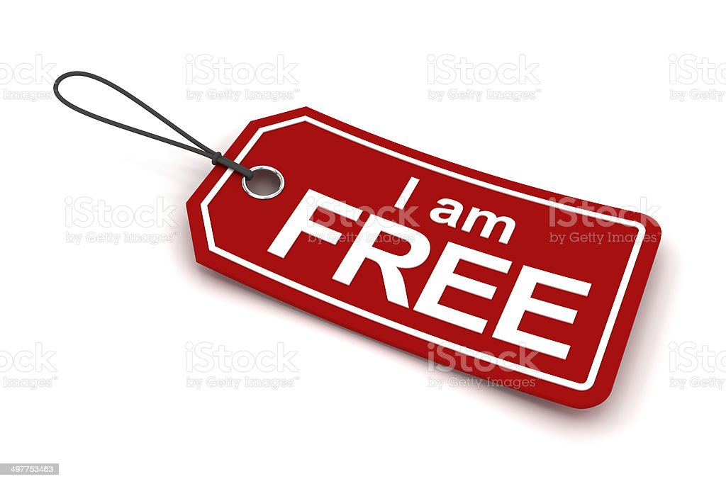 I am free tag, 3d render royalty-free stock photo