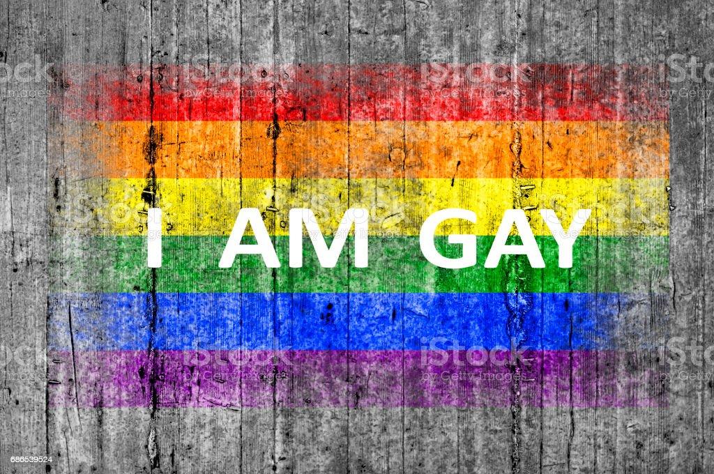 Je suis GAY et LGBT drapeau peint photo libre de droits