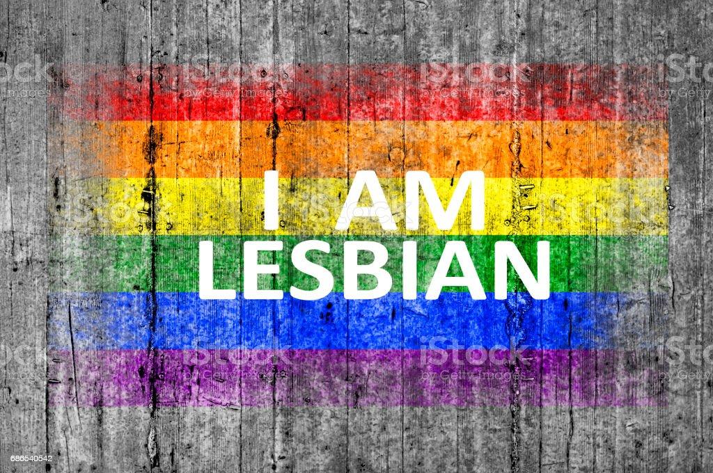 Jag är lesbisk och HBT-flaggan målad royaltyfri bildbanksbilder
