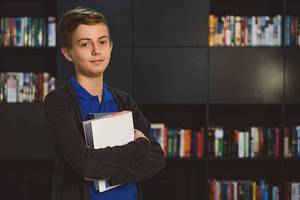 I am looking classy with books stock photo