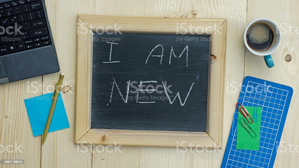 I am new written stock photo