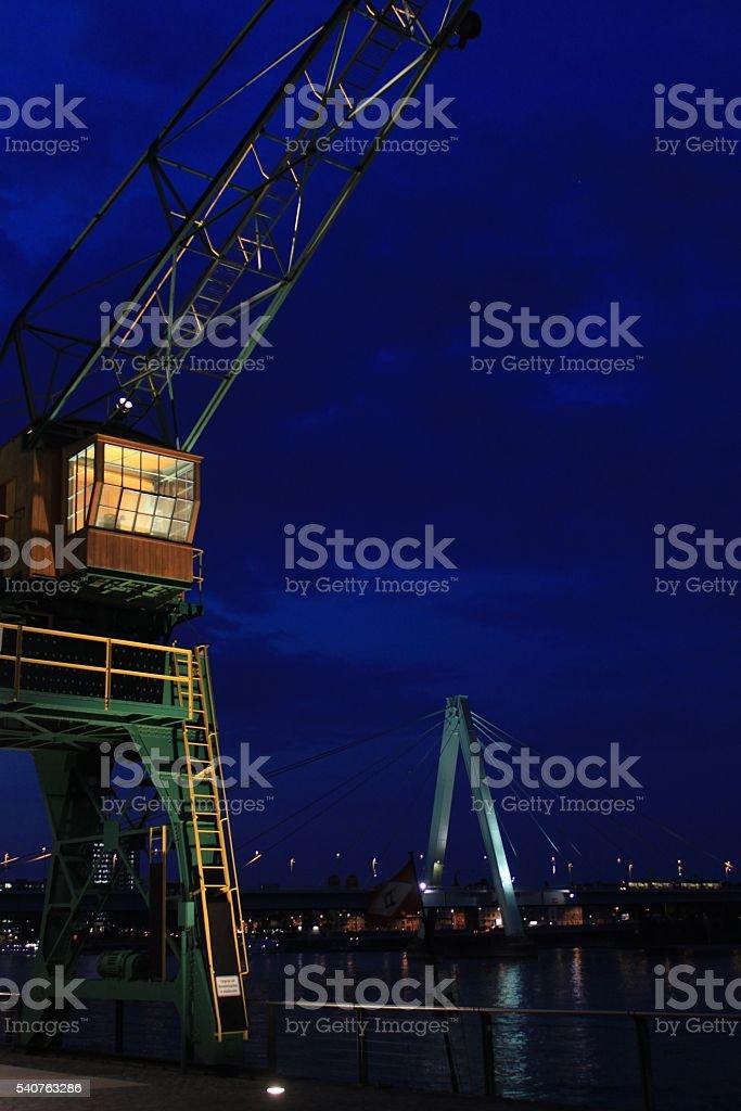 Am Rheinauhafen bei Nacht stock photo
