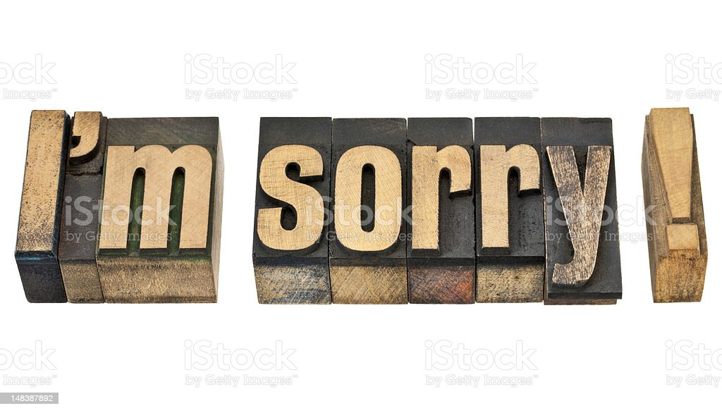 I am sorry in wood type royalty-free stock photo