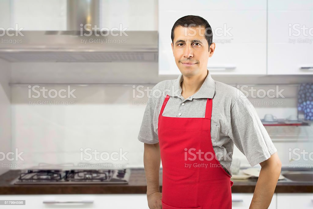 I am very happy when I'm in the kitchen stock photo