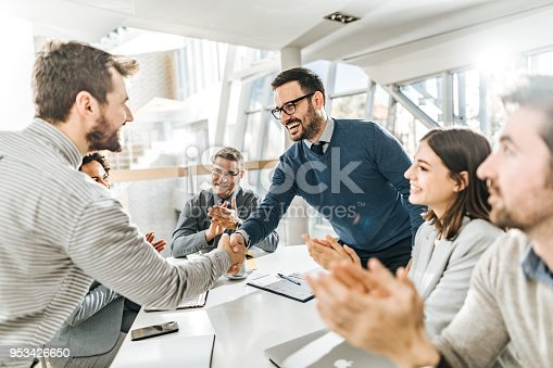 istock I am very pleased we came to an agreement! 953426650