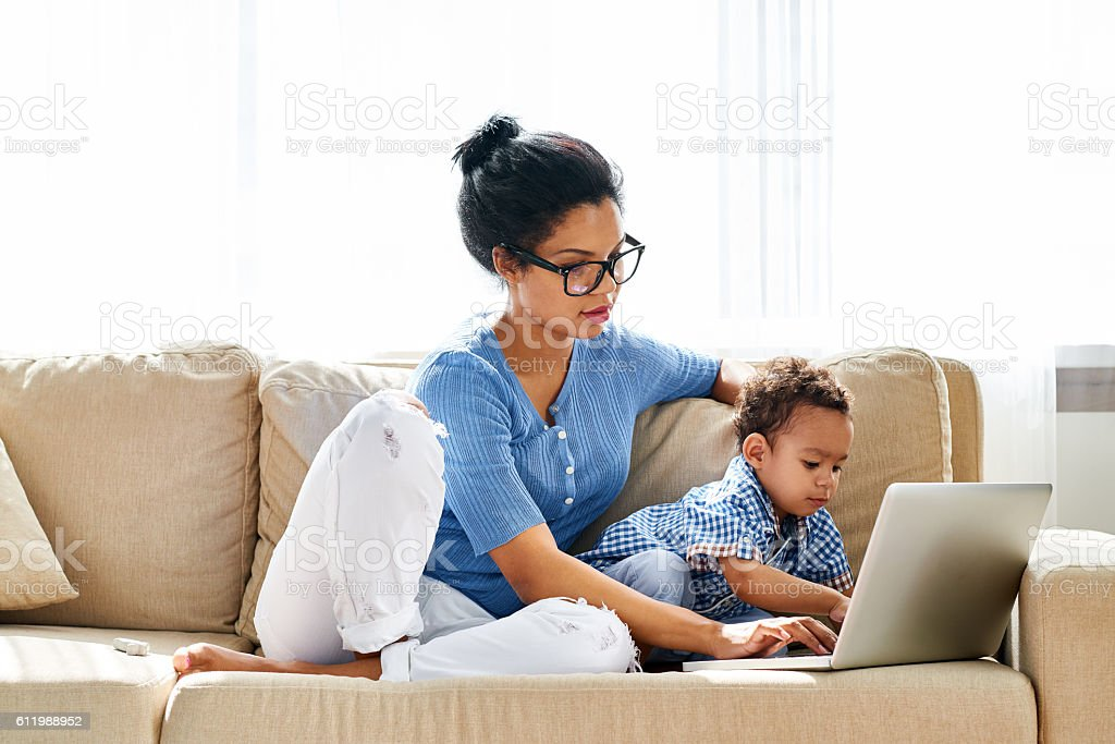 I am working with mom! stock photo