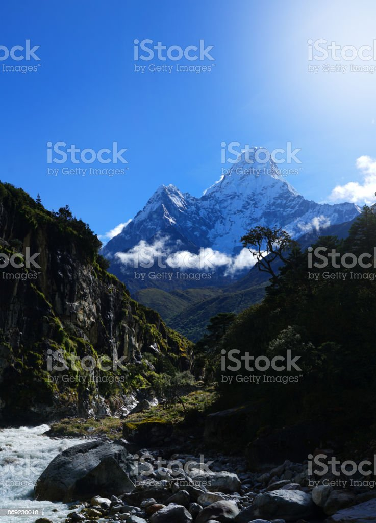Ama Dablam  6,812 Metres Mountain,View from Imja Khola River, Everest Base Camp Trek From Tengboche to Dingboche , Nepal stock photo