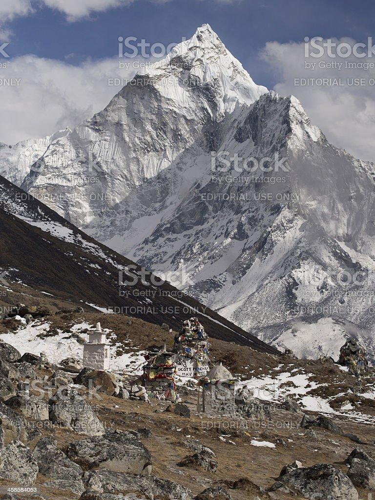 Ama Dablam and Scott Fischer Memorial Cairn, Everest Region, Nepal stock photo