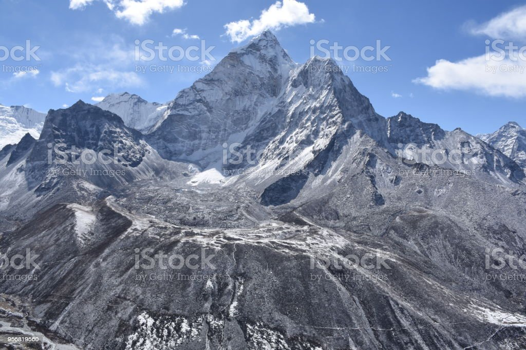 Ama Dablam Base Camp photographed from Nangkartshang, Nepal stock photo