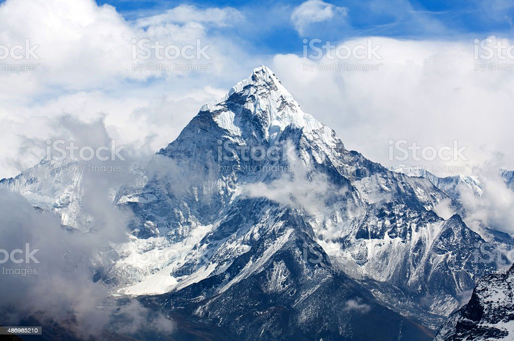 Ama Dablam Mount, Nepal Ama Dablam peak - view from Cho La pass, Sagarmatha National park, Everest region, Nepal. Ama Dablam (6858 m) is one of the most spectacular mountains in the world and a true alpinists dream 2015 Stock Photo