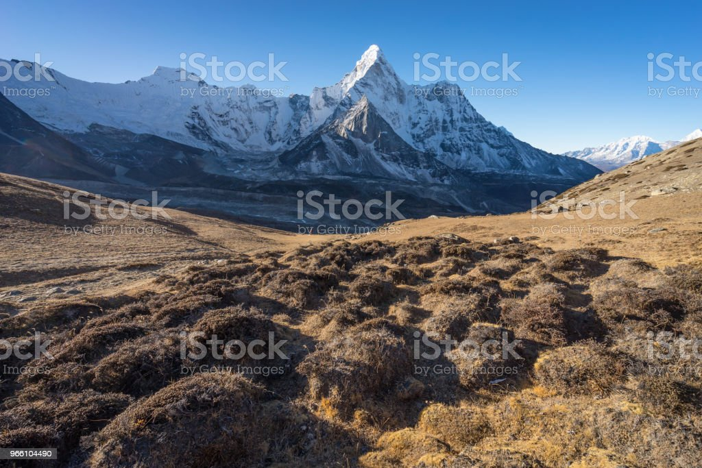 Ama Dablam mountain peak from Chukung Ri view point, Everest region, Nepal - Стоковые фото Moraine роялти-фри
