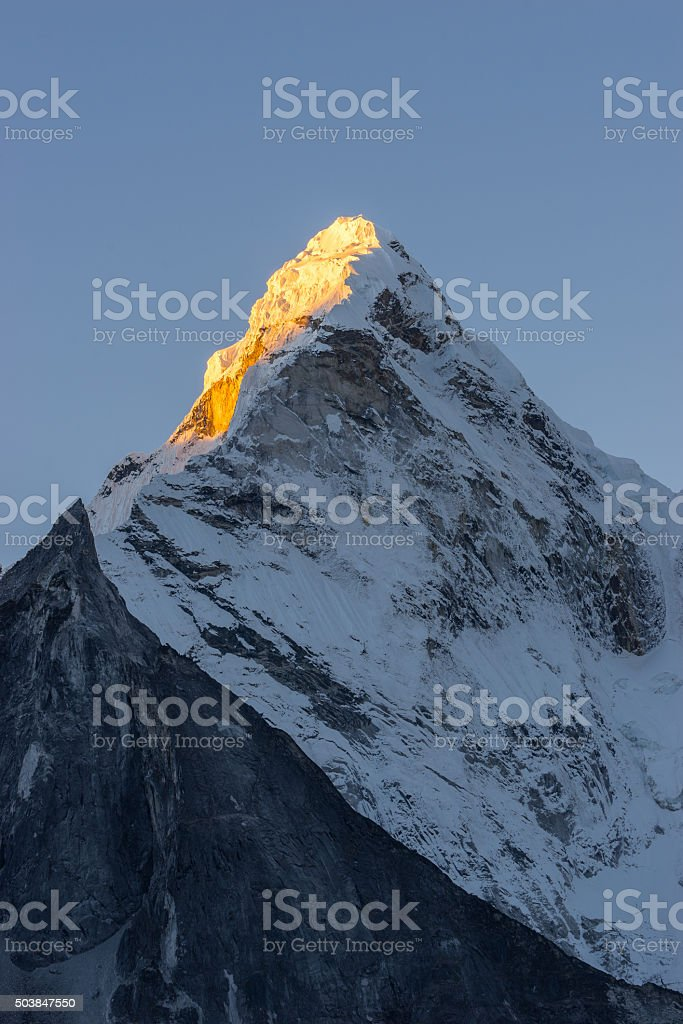 Ama Dablam mountain peak in the morning stock photo