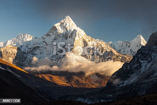 istock Ama Dablam (6856m) peak near the village of Dingboche in the Khumbu area of Nepal, on the hiking trail leading to the Everest base camp. 888011336