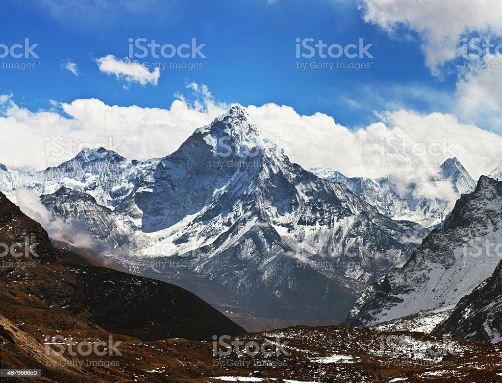 Ama Dablam peak - view from Cho La pass, Nepal stock photo