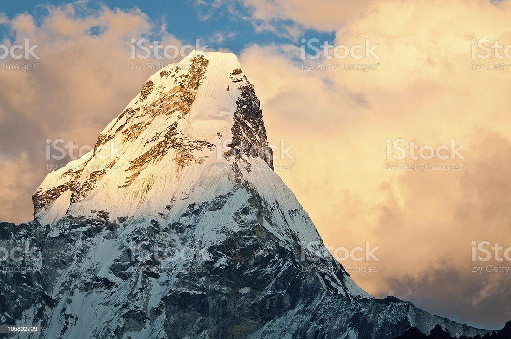 Ama Dablam snow glacier summit sunset Himalayas Nepal royalty-free stock photo