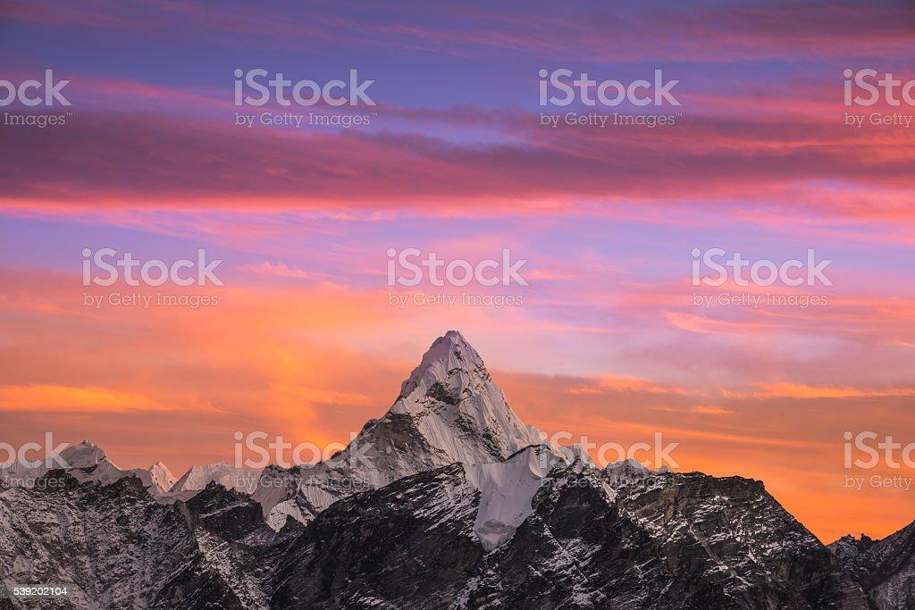 Ama Dablam sunset stock photo