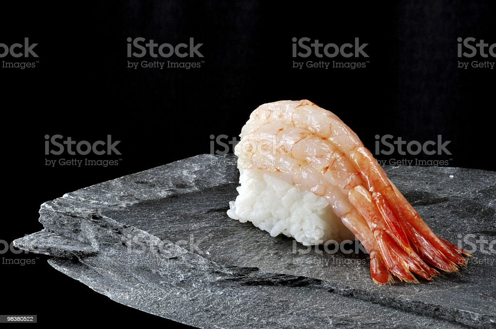Ama Ebi nigiri Sushi su ardesia foto stock royalty-free