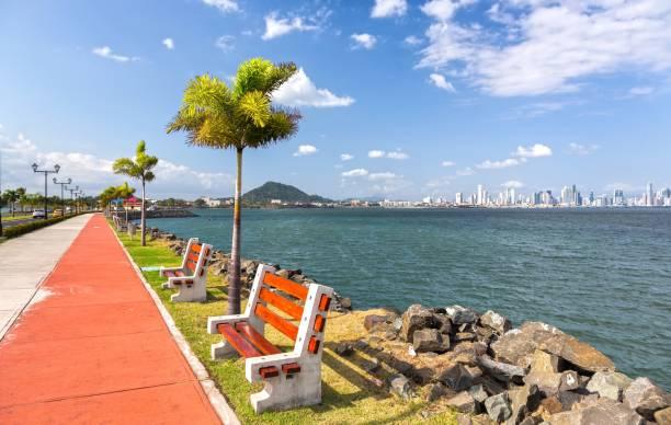 Amador Causeway Road Panama City stock photo