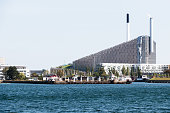 Amager Bakke, combined power and waste energy plant at Amager, Copenhagen, Denmark. Industrial concept