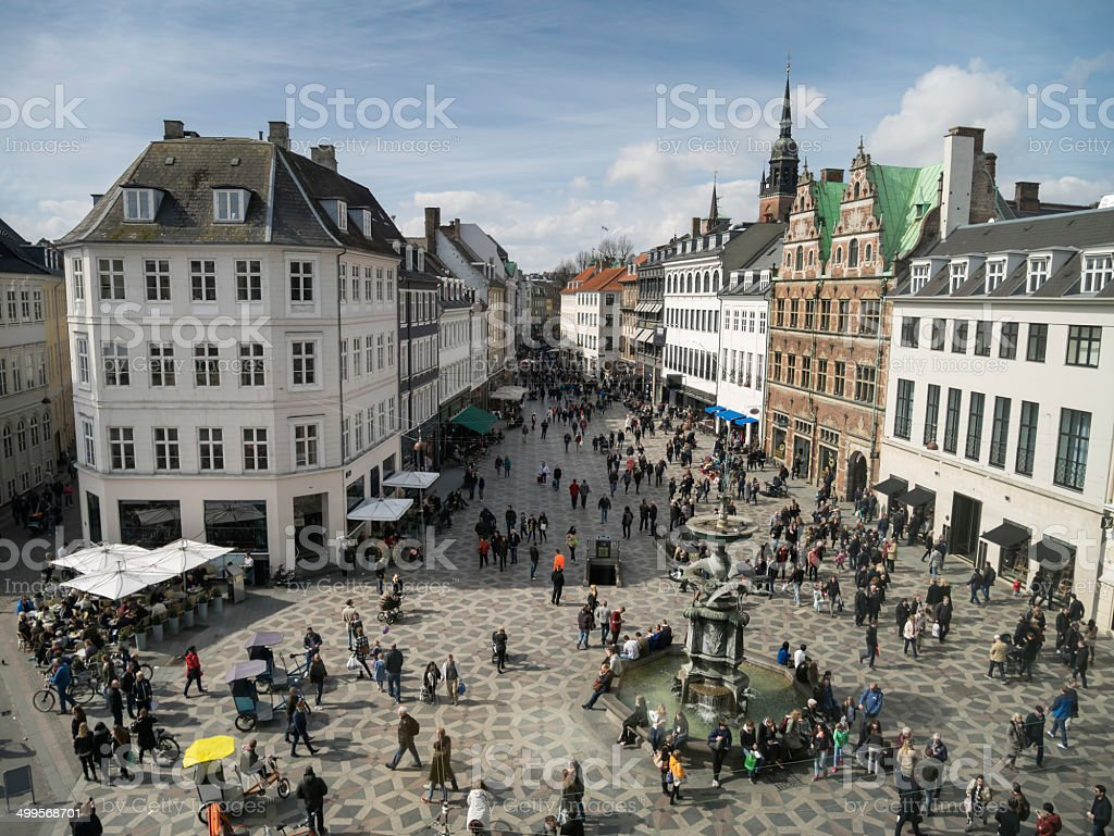 Amagertorv - central square in Copenhagen, Denmark stock photo