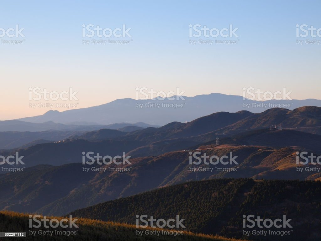 Amagi Range of the morning of New Year's Day stock photo