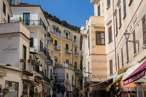 Amalfi, Campania, Italy 12 March 2017.Varco between the streets of Amalfi where the palaces and various ristories for tourists stand out.