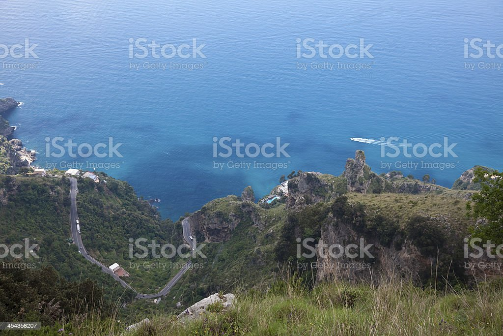 Detail of the Amalfi coast and coastal road from above - southern...