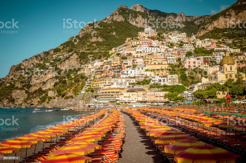 Amalfi Coast Beach In Positano Town In Italy Stock Photo