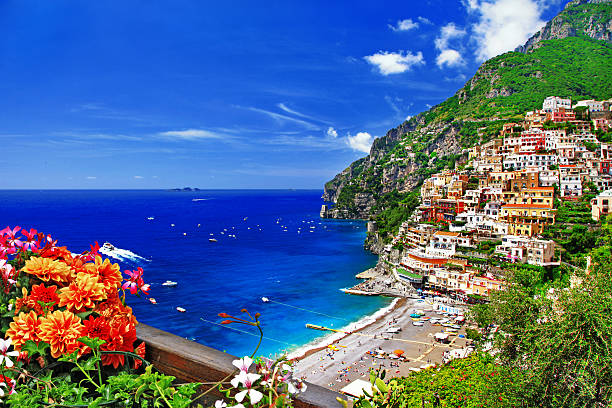 Amalfi Coast,Positano,Italy. Stunning Landscapes Of Positano,Campania,Italy. mediterranean sea stock pictures, royalty-free photos & images