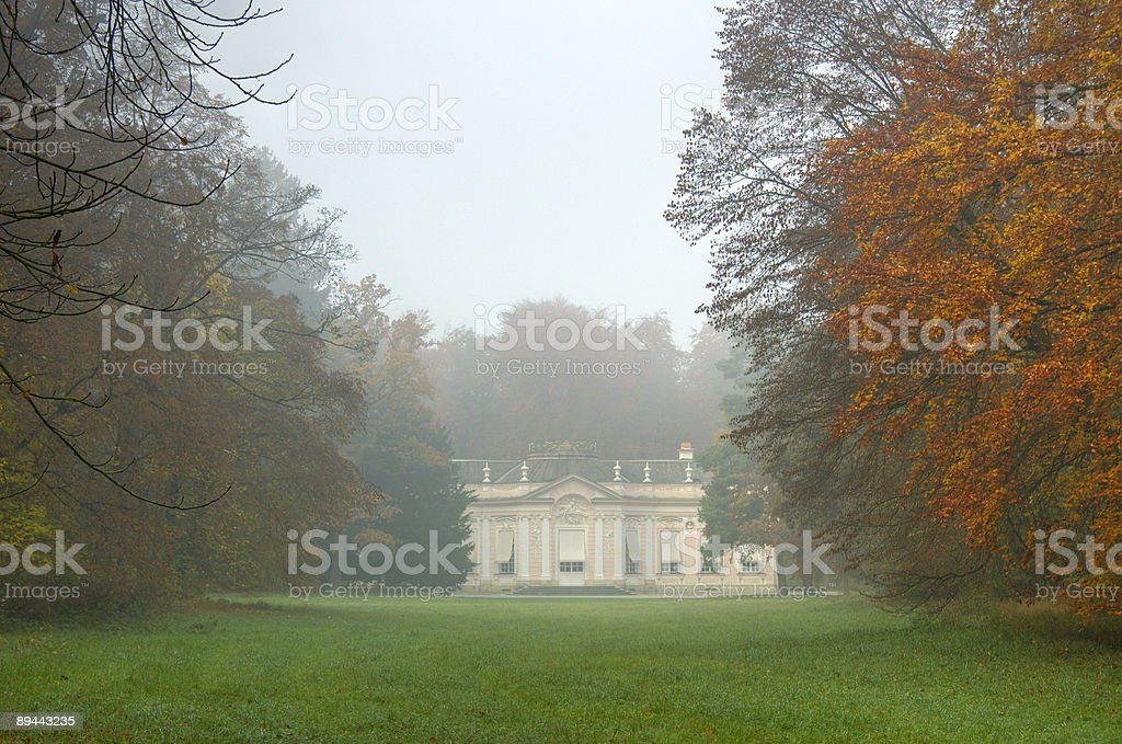 Amalienburg in Munich on a foggy autumn day 免版稅 stock photo