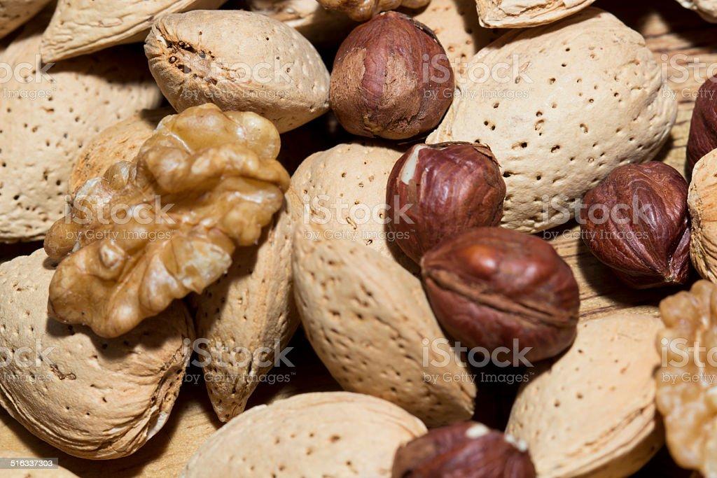 Amandes, noix et noisettes stock photo
