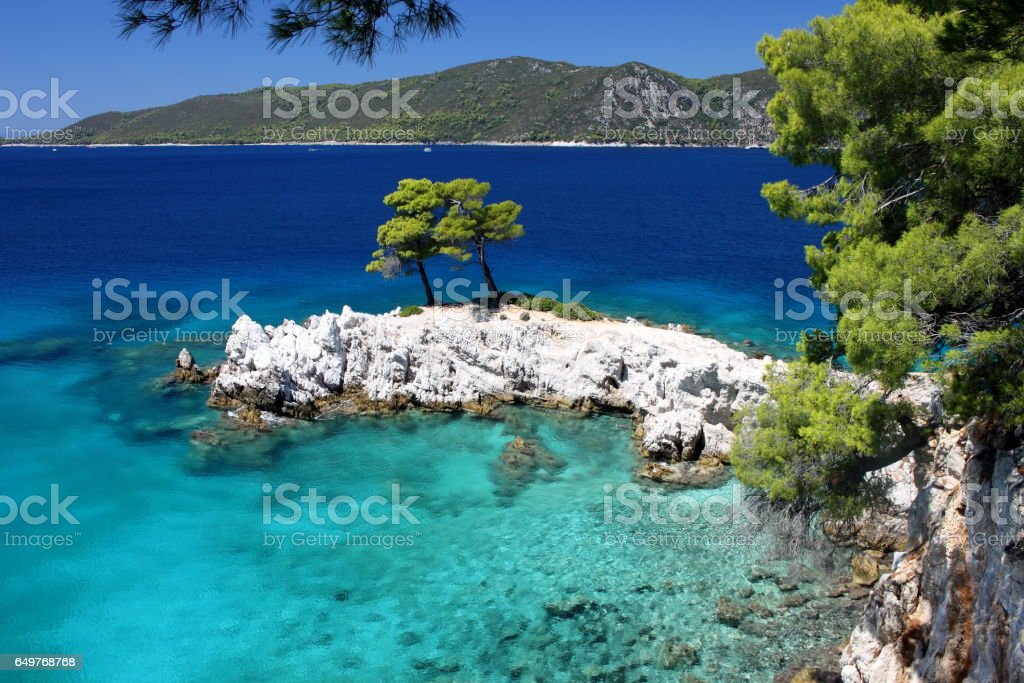 Amarantos Rocks, Mamma Mia Film, Sporades island, Greek island, Thessaly, Aegean Sea, Greece stock photo