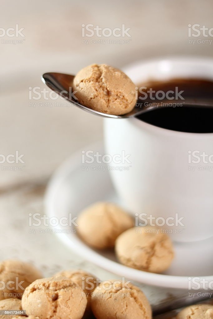 Amaretti biscuits and coffee cup royalty-free stock photo