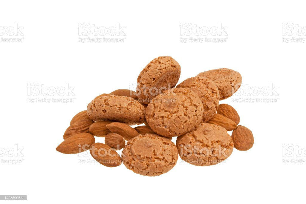 Amaretti cookies on white background stock photo