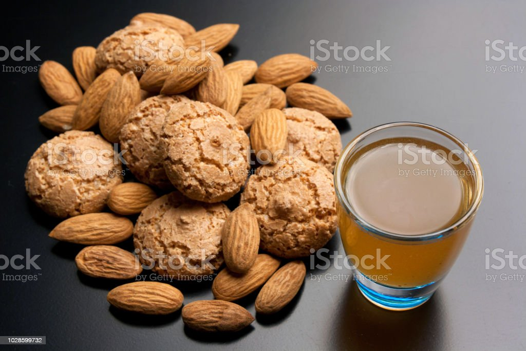 Amaretto cookies and almond liquor stock photo