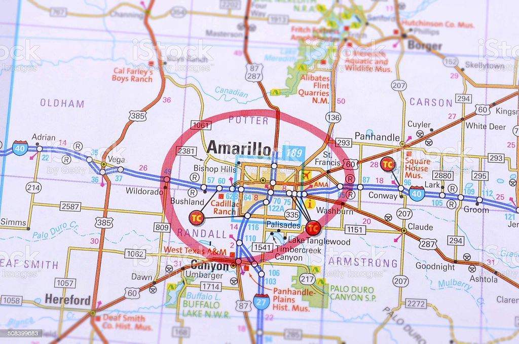Amarillo and Map stock photo