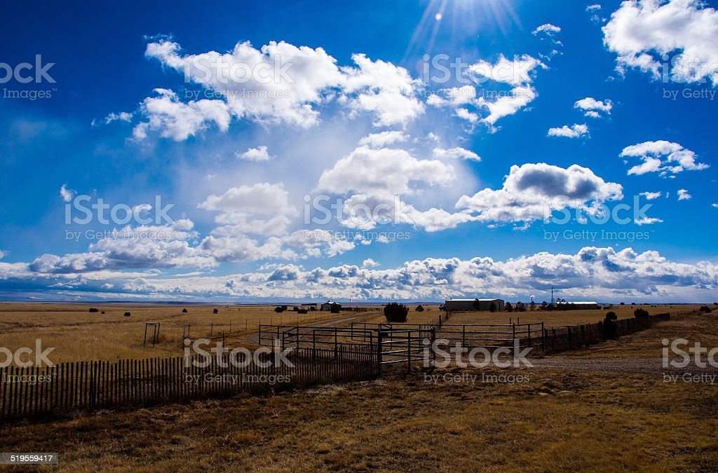 Amarillo Farm Fields and Ranch lands Big Texas Sky stock photo